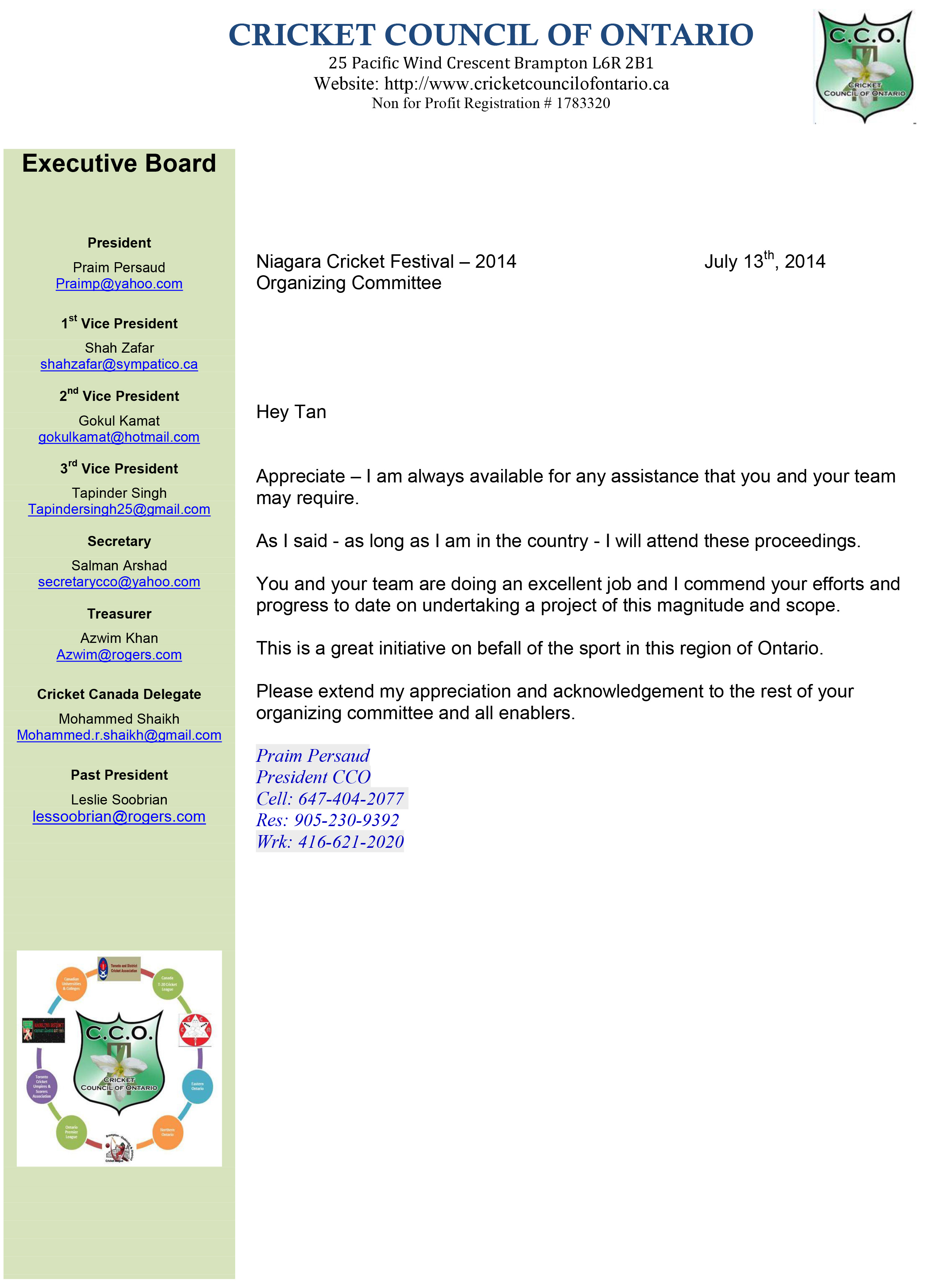 CCO - Approval, Recognition and Support for Annual Niagara Festival - 2014