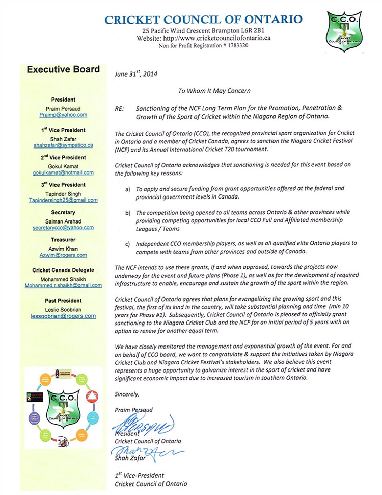 Cricket Council of Ontario - Sanction Letter – Signed